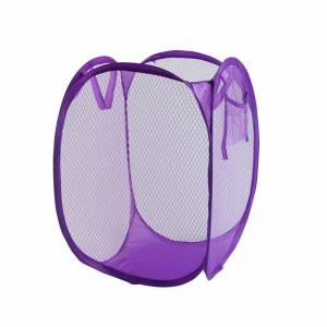 Folding mesh dirty clothes basket