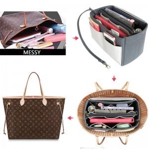 Multi-pocket Cosmetic Bag Felt Insert Bag Organizer