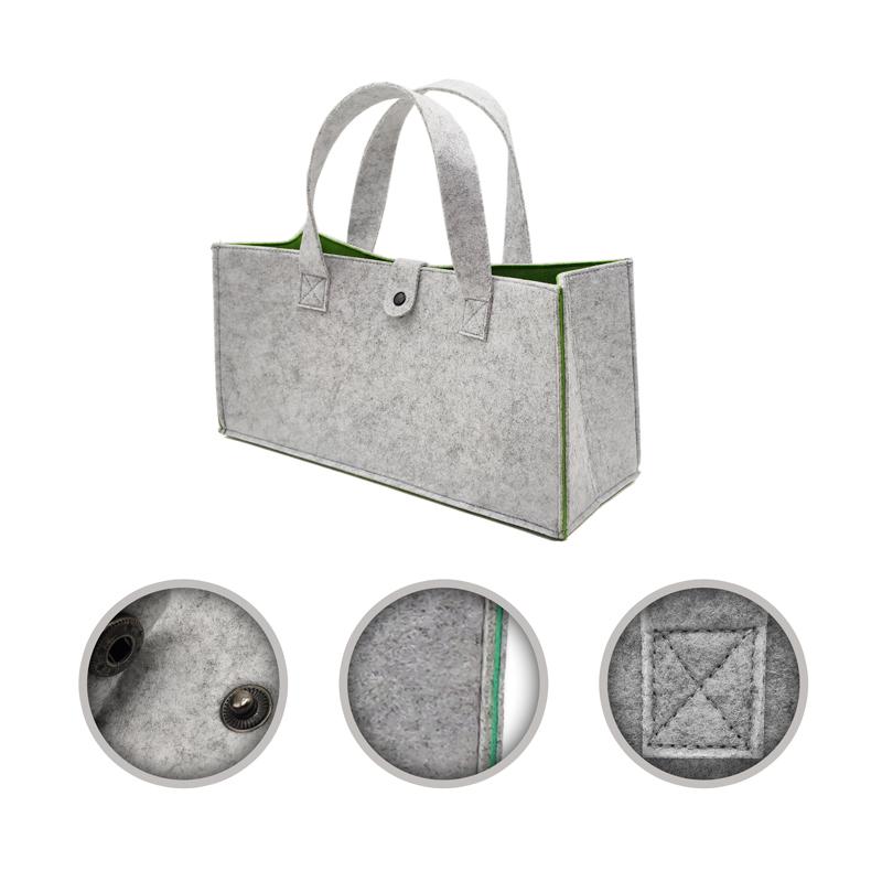 Wholesale best selling felt firewood storage basket felt kids toy laundry bag